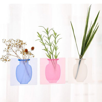 Silicone Sticky Vase Stick on The Wall Flower Pot Magic Flower Plant Vases Flower Container for Home Offices Wall Decorations