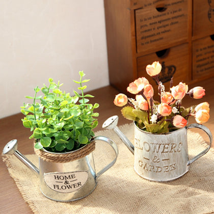 Vintage Metal Handicraft Watering Flower Arrangement Home Decor Succulents Plant Flowers Pot Bucket Flower Vase Garden Decor