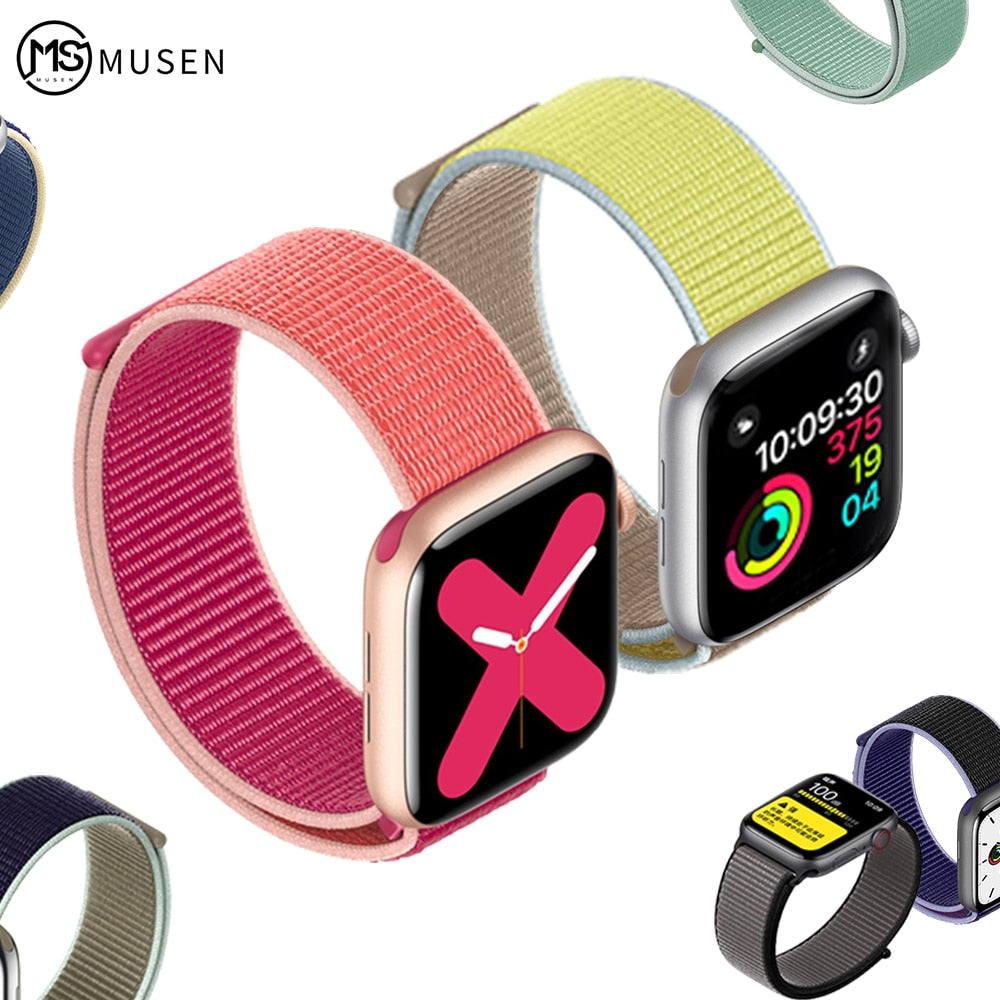 Woven Nylon band strap for apple Series 5 watch band 42mm 44mm 38 mm 40mm sport  nylon bracelet watchband for iwatch 4/3/2/1