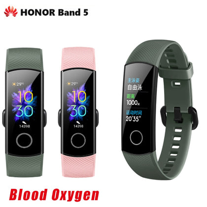 Huawei Honor Band 5 Smart Band Bracelet Wristband Watch Amoled Touch Screen Sport Swimming Heart Rate Blood Oxygen Sleep Tracker