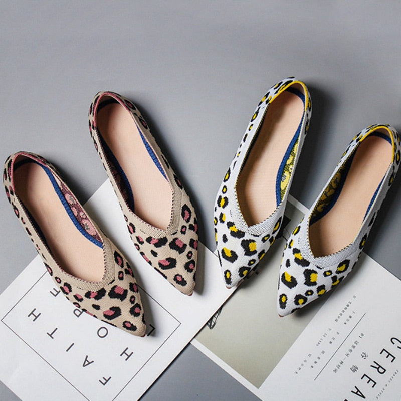 Spring Women Flats Shoes Leopard Print Women Shoes Ballerina