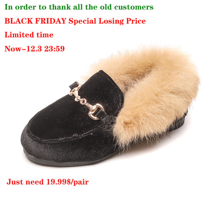 CMSOLO Boys Girls Velvet Loafer Fur Shoes Size 21-35 Flat
