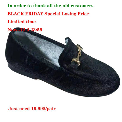 Boys Girls Velvet Loafer Best Sell Winter Warm Kids Buckle Shoes