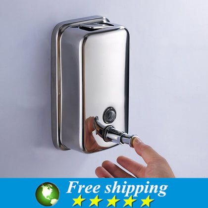 High Quality Wall Mounted Stainless Steel Bathroom&Kitchen Liquid Soap Dispenser 500ml,Free shipping.