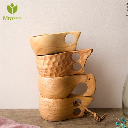 New Chinese Portable Wood Coffee Mug Rubber Wooden
