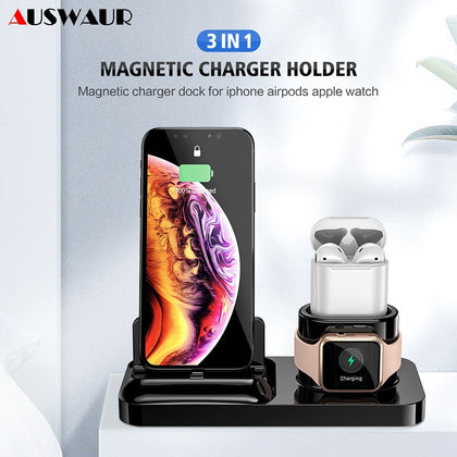 Magnetic Phone Charger Dock Holder Cradle 3 IN 1 for iPhone 11 Airpods Apple Watch iWatch Series 1 2 3 4 5 Charger Holder Cradle