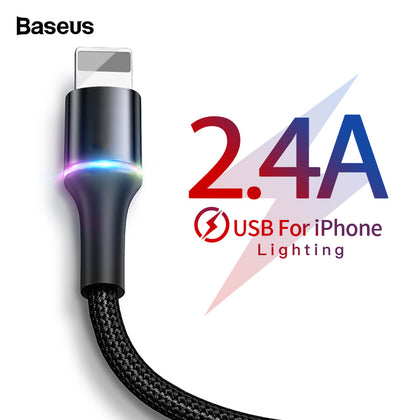 Baseus USB Cable For iPhone Charger Fast Charging Mobile Phone Cable For iPhone Xs Max Xr X 11 8 7 6 6S 5 5S iPad Wire Cord 3m