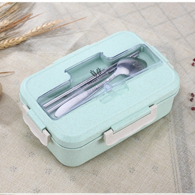 Microwave Lunch Box Wheat Straw Dinnerware Food Storage Container Children Kids School Office Portable Bento Box Lunch Bag