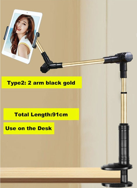 Folding Long Arm Phone Tablet Stand Holder For Ipad Pro 12.9 Samsung Kindle 5-14 Inch 360 Rotation Lazy Bed Desk Tablet Mount