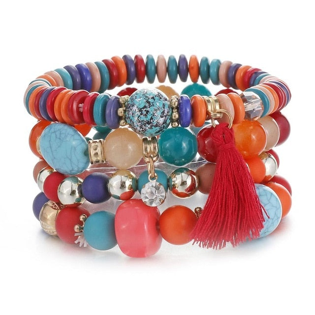Multilayer Crystal Lava Stone Beads Wing Tassel Bracelet