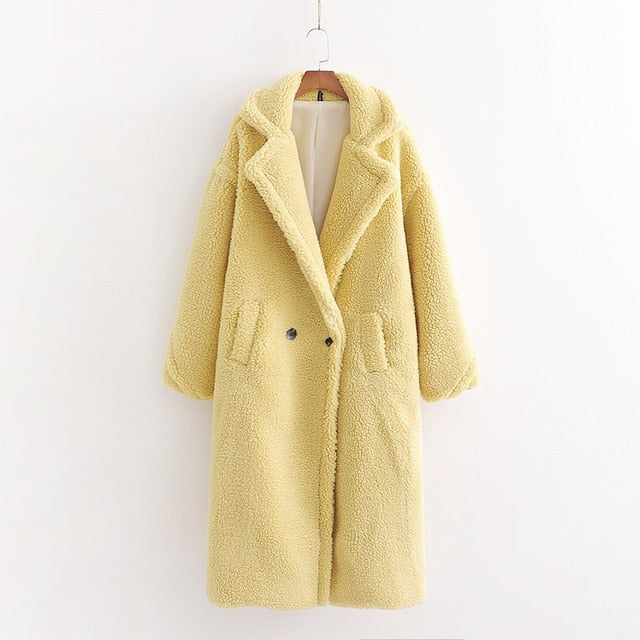 Autumn Winter Women Beige Teddy Coat Stylish Female Thick Warm Cashmere Jacket Casual Girls Streetwear