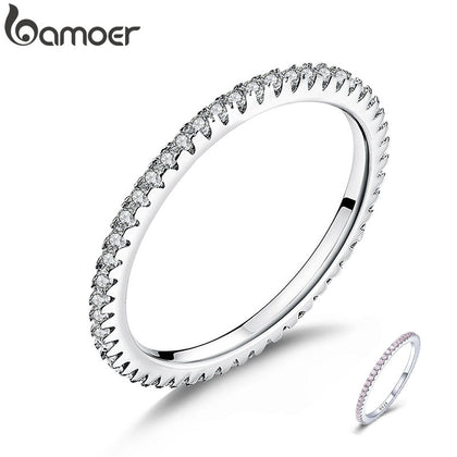 925 Sterling Silver High Quality Circle Clear CZ Geometric Stackable Ring