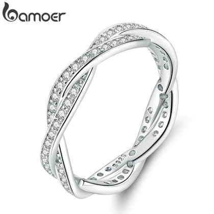 8 STYLE BRAIDED PAVE LEAVES Twist Of Fate Stackable Ring