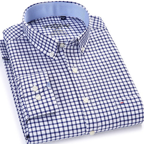 Men's Plaid Checked Oxford Button-down Shirt Single Patch Pocket