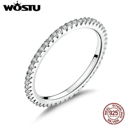 925 Sterling Silver Simple Geometric Round Single Stackable Finger Ring