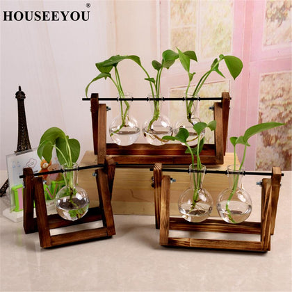 Terrarium Creative Hydroponic Plant Transparent Vase Wooden Frame Vase Decorations Glass Tabletop Plant Bonsai Decor Flower Vase