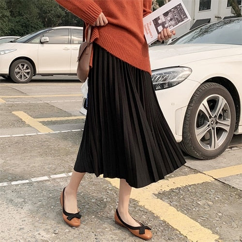 Surmiitro Elegant Solid Midi Pleated Skirt Women 2020 Spring Ladies Korean Red Black High Waist A-line School Long Skirt Female
