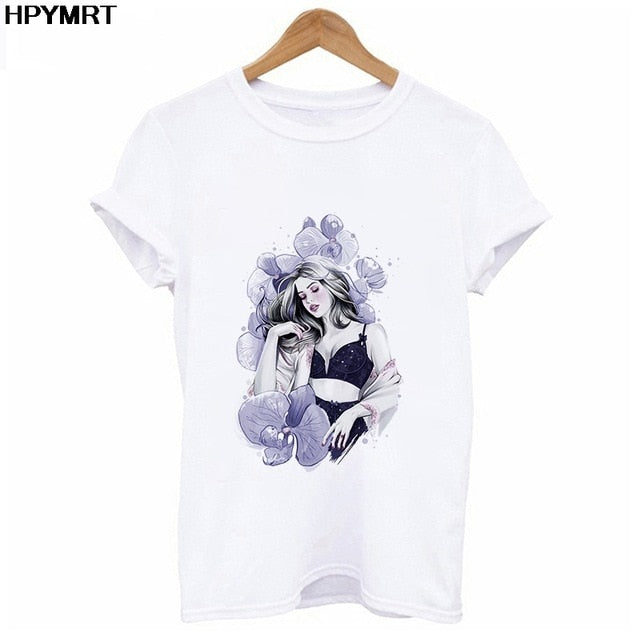 New Flamingo beauty t shirt women fashion hipster Harajuku Short Sleeve t-shirt White Suitable all seasons Tshirt Tops clothing