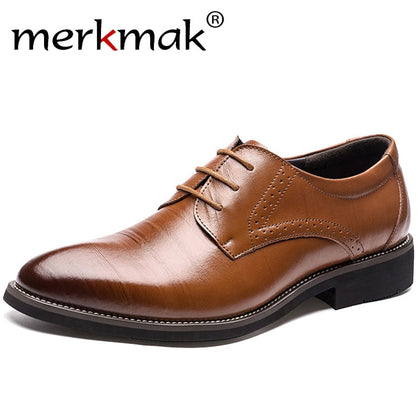 Leather Men Brogues Shoes Lace-Up Bullock Oxfords Shoes