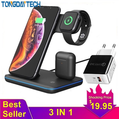 Tongdaytech 15W Qi Wireless Charger For Iphone X 8 11 Pro Max Quick Charge Fast Charger For Apple Airpods Pro Watch 5 4 3 2 1