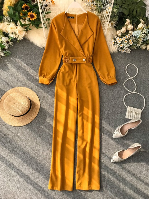 Office Lady  Elegant Jumpsuit Bandage High Waist Spring Autumn Casual Loose Overalls For Women