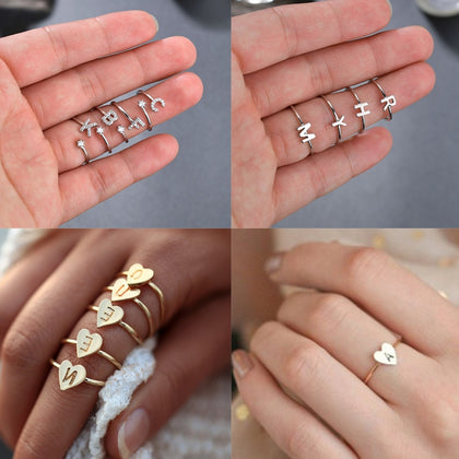 Initial Ring Silver Color Letter Adjustable Rings For Couple Lovers' Ring Rhinestone