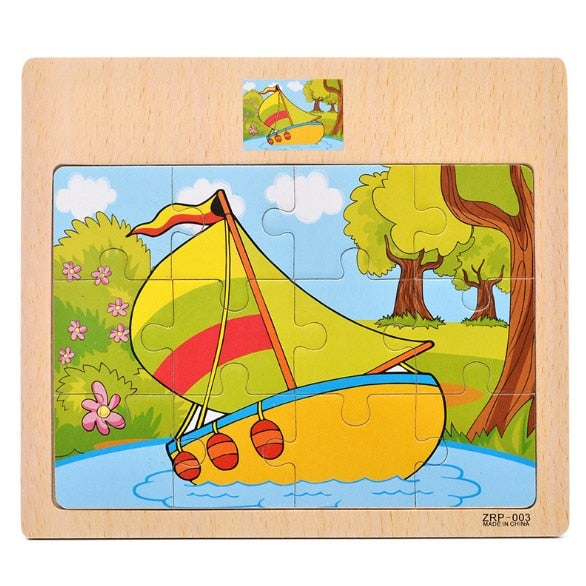 Graph Match Game Kid's Early Educational Montessori Toys Puzzle Card Cartoon Vehicle Learning Pocket Flash Card MG09