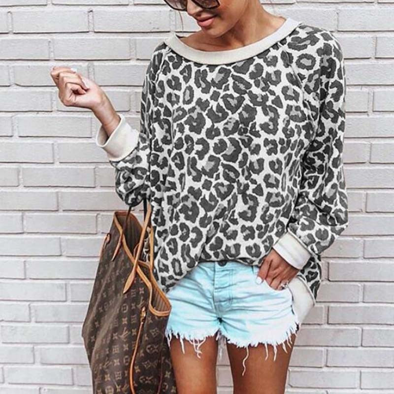 2020 New Spring  Women Sweatshirt Round Neck Print Leopard Jersey Loose Shirt 5 Colors Women Pullovers Tops