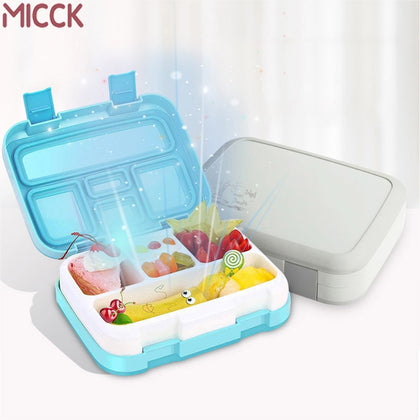 MICCK Portable Lunch Box For Kids With Compartment New Cartoon Microwavable Bento Box Leakproof Food Container Gift Tableware