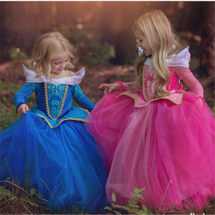 5 6 7 8 9 10 Years Girls Dress Halloween Cosplay Sleeping Beauty Princess Dresses