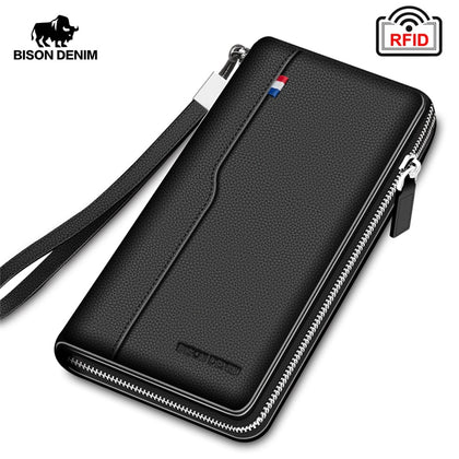 Genuine leather RFID Blocking Wallet Zipper Coin Pocket Long Purse Passport Cover For Men