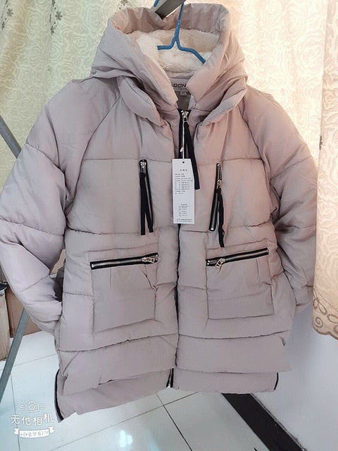 Shipp within 12hours Winter Cotton Coat Women Plus Size M-5XL Zipper Big Pocket Armygreen Outwear Jacket Hooded Thick Warm Parka