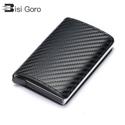 Business ID Credit Card Holder Men and Women Metal RFID Vintage Aluminium Box PU Leather Card Wallet