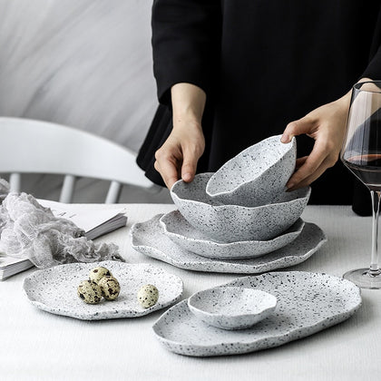Stone Dinnerware Dinner Plates and Bowls Set Stoneware Rice Soup Salad Ramen Noodle Bowl Fish Plate loza Ceramic Crockery louça