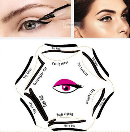 1pack 6 Style in 1 Eye Makeup Stencil ,Cat Eye liner Makeup Stencil ,Cosmetic Tool Card, Template Eyeliner Eyeshadow Stencil