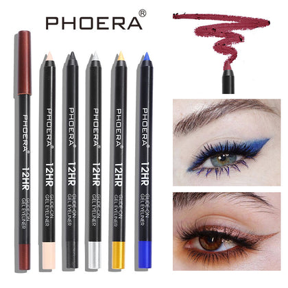 PHOERA Waterproof Eyeliner Long-lasting Eye Liner Pencil White Blue Gold Pigment 12 Color Eyeliner Pen Makeup Tools TSLM1