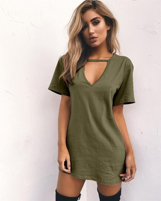 1pc 2019 Women Summer Short Sleeve Tshirt Dress Hanging V-neck Casual Sexy Halter Loose Mini Tee Dress 3XL