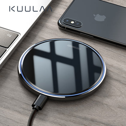 KUULAA Wireless Charger 10W Qi for Samsung S9 S10+ Note 9 8 Mirror Wireless Charging Pad 7.5W for iPhone X/XS Max XR 8 Plu