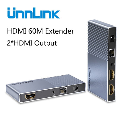 Unnlink 60M HDMI Extender with Local Output FHD 1080P@60Hz CAT6/7 Network LAN RJ45 Ethernet IR Transmit for TV Projector Monitor