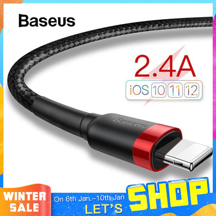 Baseus USB Cable for iPhone 11 XR Xs Max 2.4A Fast Charging Cable 3M USB Data Charger Cable for iPhone X 8 7 Plus Charge Wire