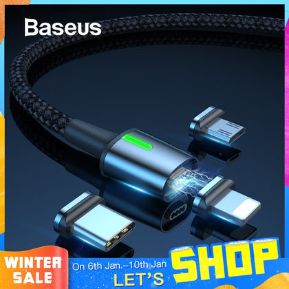 Baseus Magnetic Charge USB Cable for iPhone XR Xs Max Fast Charger Samsung S10 Huawei P30 USB Type C Cable LED Micro USB Cable