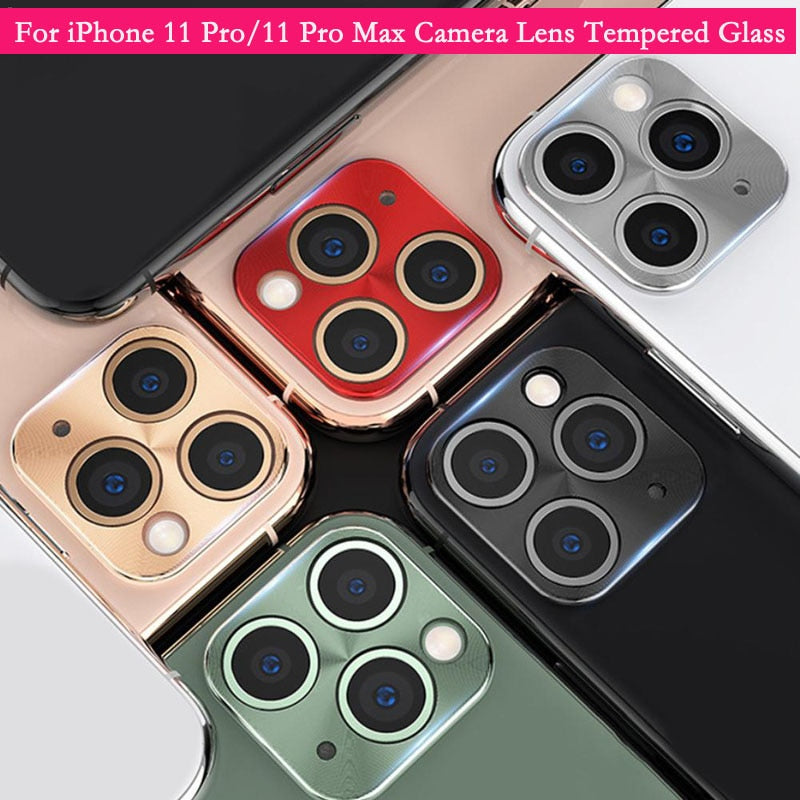 Aluminum Metal Lens Case For iPhone11 Pro/11Pro Max 3D Full Back Camera Lens Screen Protector Tempered Glass Protective Film