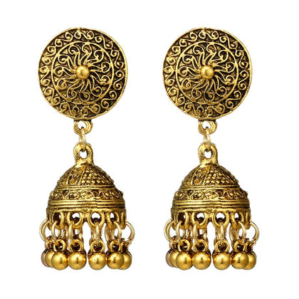 Traditional Gold Sliver Chandbali Kundan Jhumka Jhumki Drop Earrings for women