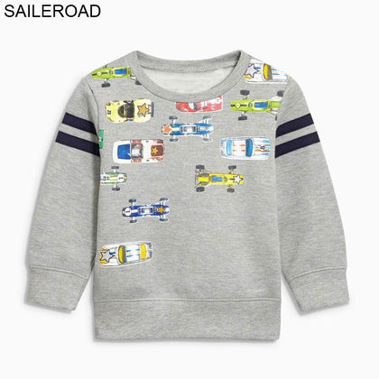 SAILEROAD 2 to 7 years Cartoon Motorcycle Race Toddler Baby Boys Topwear