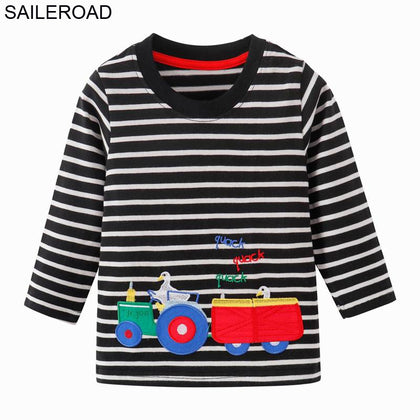 SAILEROAD Tractors Embroidery Boys Long Sleeve T Shirts