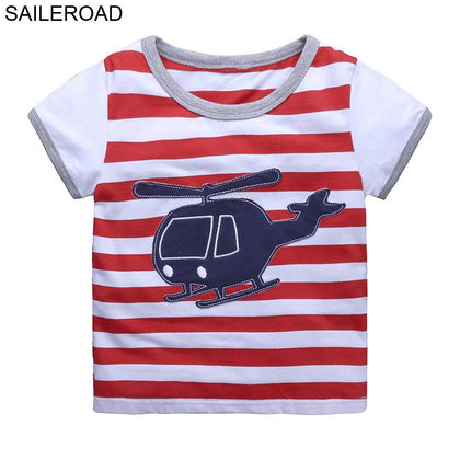 SAILEROAD Helicopter Embroidery Boys Tops Clothing