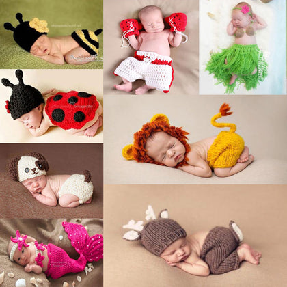 Newborn Baby Photography Props girl Boy Animal Pants Knit Hat Set
