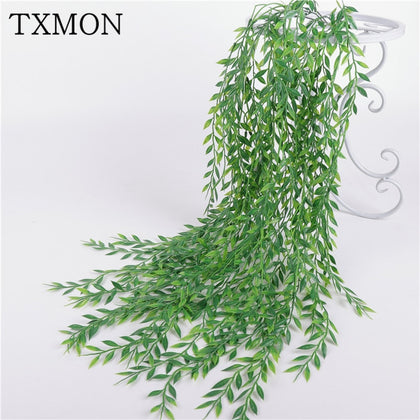 94 cm 5 branches simulation wicker willow bamboo leaves rattan false willow tree home decoration green leaf plants wall hanging