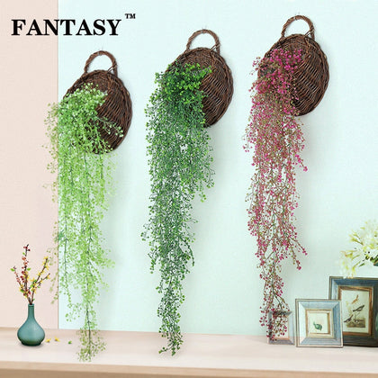 Plastic Long Strip Wall Hanging Fake Rattan Artificial Vine 5Fork Outdoor Hang Plant Ivy False Tree Branch For Garden Shop Decor
