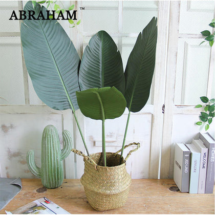 98cm 3pcs Plastic Palm Leaves Tropical Big Artificial Banana Tree Branch Green False Plants Fake Palm Leaf For Home Office Decor